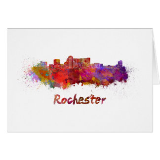 Rochester MN skyline in watercolor Card