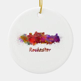 Rochester MN skyline in watercolor Ceramic Ornament