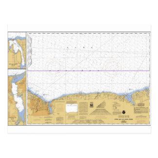 Rochester, NY Nautical Lake Ontario Chart Postcard