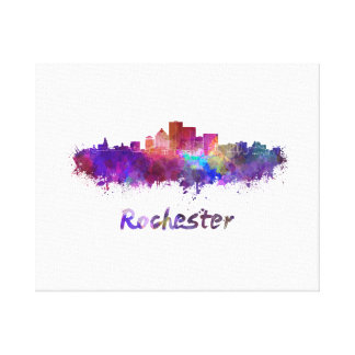 Rochester skyline in watercolor canvas print