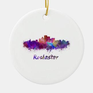 Rochester skyline in watercolor ceramic ornament