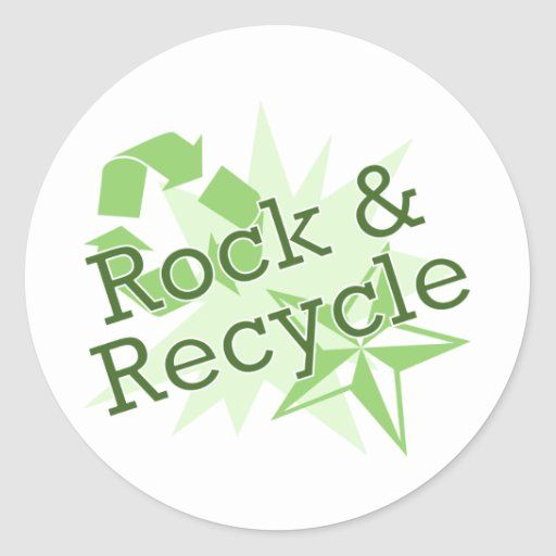 Rock and Recycle Round Stickers