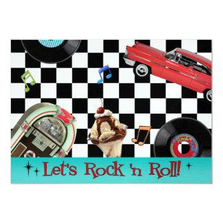Rock and Roll 13 Cm X 18 Cm Invitation Card