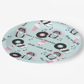 Rock and Roll Birthday Party Paper Plate