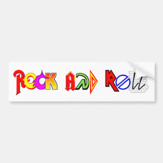 Rock and Roll Bumper Sticker (White)