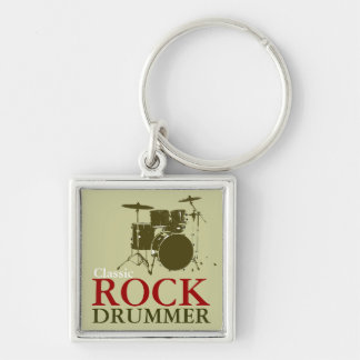 rock and roll drummer key ring