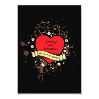 Rock and Roll Grungy Heart (Brown) 13 Cm X 18 Cm Invitation Card