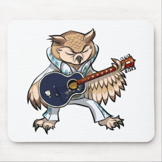 Rock and Roll Guitar Owl in Jumpsuit Cartoon Mouse Pad