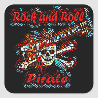 Rock and Roll Guitar Pirate Skull Square Sticker