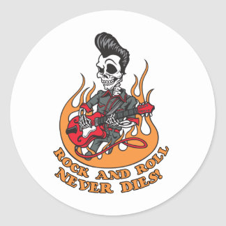 Rock And Roll Never Dies Skeleton Guitar Classic Round Sticker