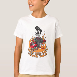 Rock And Roll Never Dies Skeleton Guitar Shirt