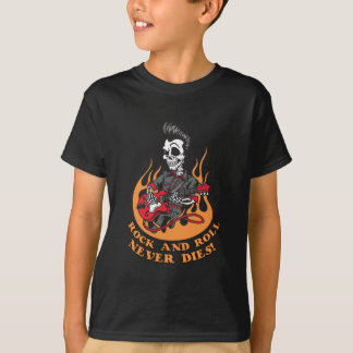 Rock And Roll Never Dies Skeleton Guitar T Shirt