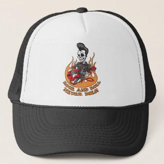 Rock And Roll Never Dies Skeleton Guitar Trucker Hat