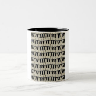 Rock And Roll Piano Keys Two-Tone Coffee Mug