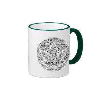 Rock and Roll Pot Leaf Word Art Ringer Mug