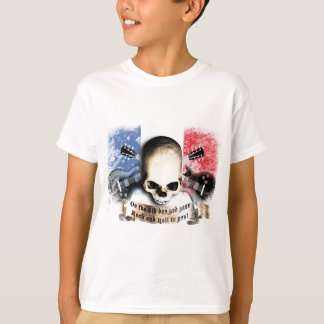 rock and roll skull flag and guitars t-shirts