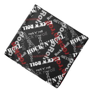 rock and roll typography music pattern bandana