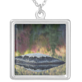 Rock and tree reflection, Lily Pond, White Square Pendant Necklace