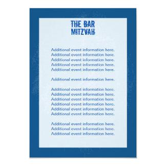 Rock Band Bar Mitzvah Info Card - Blue 13 Cm X 18 Cm Invitation Card