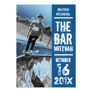 Rock Band Bar Mitzvah Invitation in Blue