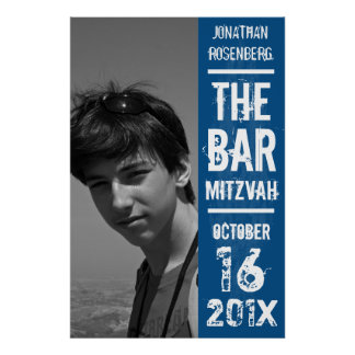 Rock Band Bar Mitzvah Poster in Blue