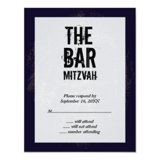Rock Band Bar Mitzvah Reply Card 11 Cm X 14 Cm Invitation Card
