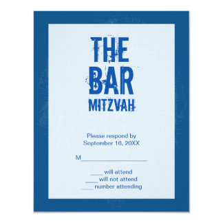 Rock Band Bar Mitzvah Reply Card In Blue 11 Cm X 14 Cm Invitation Card