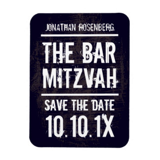 Rock Band Bar Mitzvah Save the Date Magnet, Black Rectangular Photo Magnet