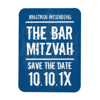 Rock Band Bar Mitzvah Save the Date Magnet, Blue Magnet