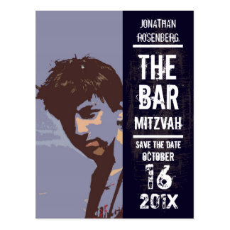 Rock Band Bar Mitzvah Save the Date Postcard