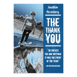 Rock Band Bar Mitzvah Thank You Card in Blue 13 Cm X 18 Cm Invitation Card
