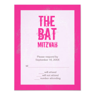 Rock Band Bat Mitzvah Reply Card in Pink 11 Cm X 14 Cm Invitation Card