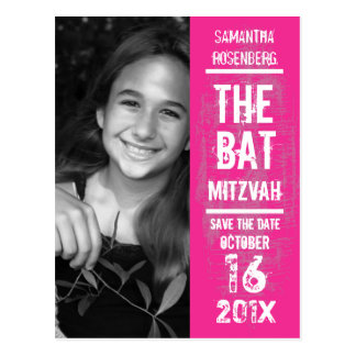 Rock Band Bat Mitzvah Save the Date in Pink Postcard