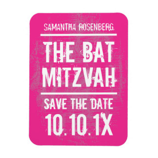 Rock Band Bat Mitzvah Save the Date Magnet, Pink Magnet