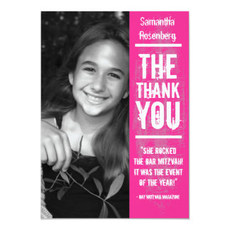 Rock Band Bat Mitzvah Thank You Card in Pink 13 Cm X 18 Cm Invitation Card
