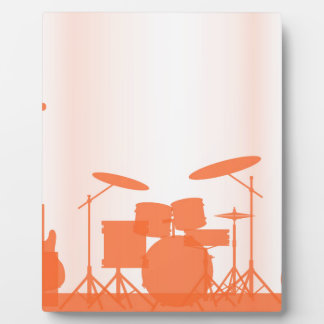 Rock Band Equipment On Stage Photo Plaques