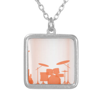 Rock Band Equipment On Stage Silver Plated Necklace