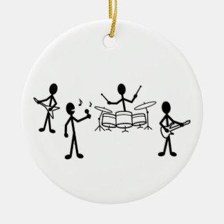 Rock Band Stick Figure Ceramic Ornament