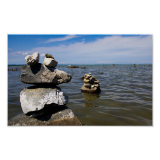 Rock Cairns in Traverse Bay, Michigan Poster