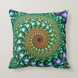 Rock Candy Fractal Swirl Throw Pillow
