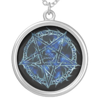 Rock Candy Pentagram Round Pendant Necklace