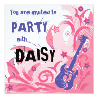Rock chick guitar party invitation pink & purple