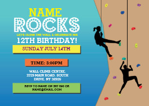 Rock Climbing Birthday Party Wall Invite