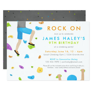 Rock Climbing Birthday Party Invitation - Rock on!