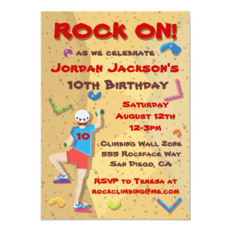 "Rock Climbing Party Invitations 5"" X 7"" Invitation Card"