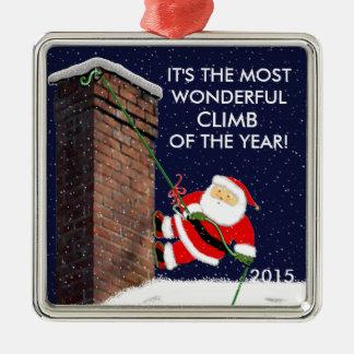Rock Climbing Santa Metal Ornament