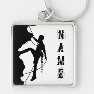 "Rock Climbing Silhouette Large (2.00"") Square Keyc Key Ring"