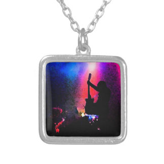 Rock Concert with Guitarist and Stage Lighting Square Pendant Necklace