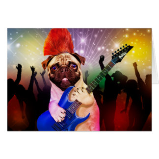 Rock dog - pug party - pug guitar - dog rocker card