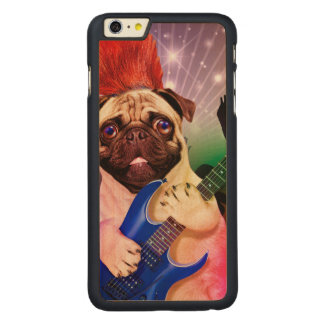 Rock dog - pug party - pug guitar - dog rocker carved maple iPhone 6 plus case